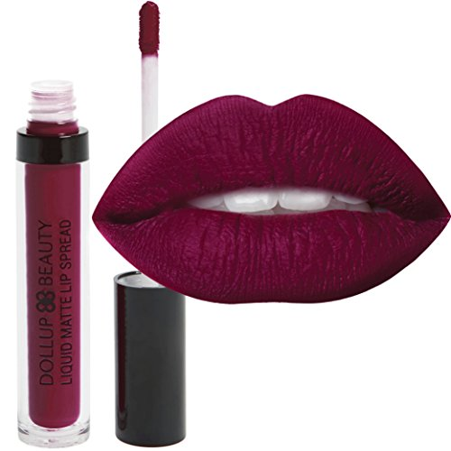 Dollup Beauty Liquid Matte Lipstick Color 'Joy' Burgundy Wine Red with No-Smudge, No-Fade, Long Lasting, Waterproof Formula Choose from 8 glam injected colors