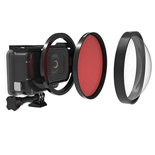 QKOO Professional Dive Lens Kit for GoPro Hero 7 Black/Hero (2018)/6 Black/5 Black Original Waterproof Super Suit Housing Case - 58mm HD Macro Lens Close-Up 24X Filter +Diving Red Filter +Adapter Ring (Underwater Macro Lens)