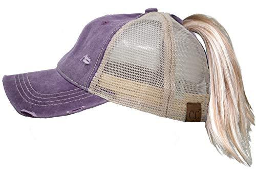 H-216-CC-79 Ponytail Trucker Hat: Violet/Beige Mesh