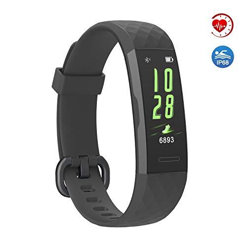 YoYoFit Slim Kids Fitness Tracker Heart Rate Monitor, Kids Activity Tracker Waterproof Pedometer Watch, Digital Kids Alarm Clock Step Calorie Sleep Health Tracker as Best Fitness Gift (Light Black)