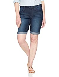 "Women's Rolled Cuff Midrise Denim Bermuda Short 10"" Inseam"