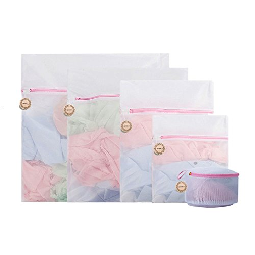 MONBLA Mesh Laundry Bag Set Cothes Strong Wash Bag All Sizes for Delicates Lingerie Bra in Washer Dryer Extend Garment Life Durable Reinforced Construction Keep Delicates (Fine Mesh)