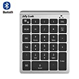 Bluetooth Number Pad, Jelly Comb N019 Ultra Slim Wireless Bluetooth 28-Key Numeric Keypad Data Entry with Multiple Shortcuts for Smartphones Tablet Surface pro and More (Silver)