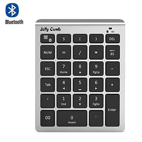 Bluetooth Number Pad — Jelly Comb N019 Bluetooth Numeric Keypad Portable Full Size 28-Key Keypad with Multiple Shortcuts for Data Entry Laptop, Tablet, Surface Pro and More(Black and Silver)