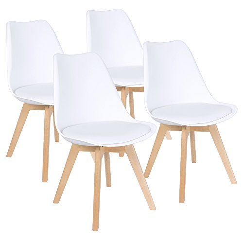 Furmax Mid Century Modern DSW Dining Chair Upholstered Side Chair with Beech Wood Legs and Soft Padded Shell Tulip Chair for Dining Room Living Room Bedroom Kitchen, Set of 4 (Upholstered White) ()