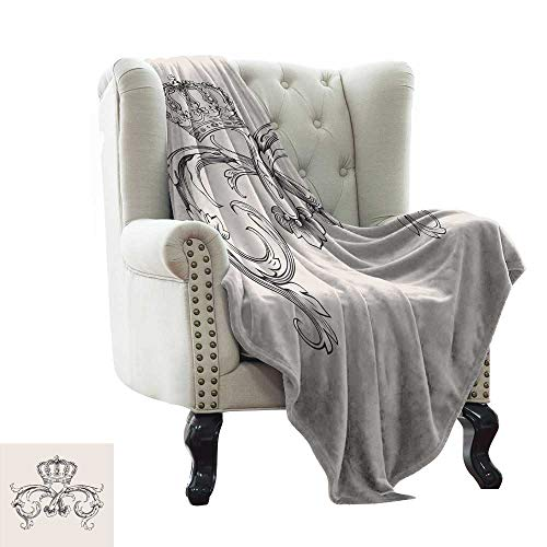 Pattern Blanket Medieval,Royal Crown with Vintage Curves King Palace Ribbon Monochrome Retro Style,Queen Full,Beige Dark Brown Winter Luxury Plush Microfiber Fabric 50
