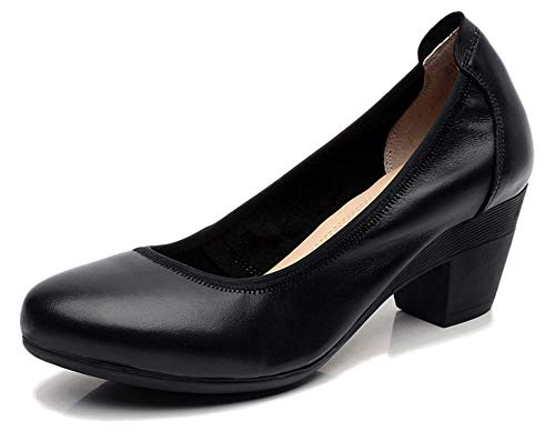 Fangsto Women's Genuine Leather Chunky Heel Pumps Slip Ons US Size 6.5 Black (Shoe Cone Heel Platform)