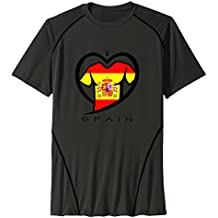 Men's I LOVE SPAIN Sport Quick Dry Short Sleeves T-Shirt Black US Size L