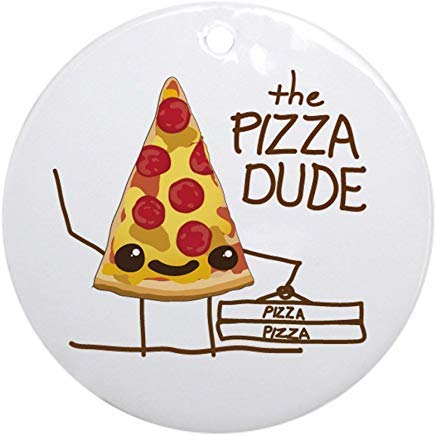 (Voicpobo The Pizza Dude Christmas Ornaments Round Novelty Ceramic Christmas Tree Decoration Ornament Gifts for Friends,for Family )