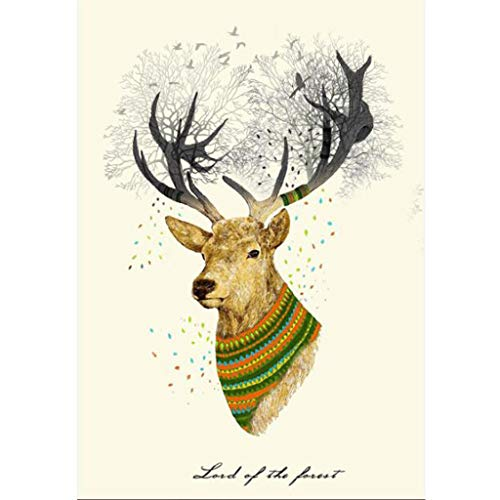 DDLmax Deer - DIY 5D Diamond Painting by Number Kits - Paint with Diamonds Cross Stitch - Embroidery Crystal Rhinestone Pasted Drilled Arts Craft for ()