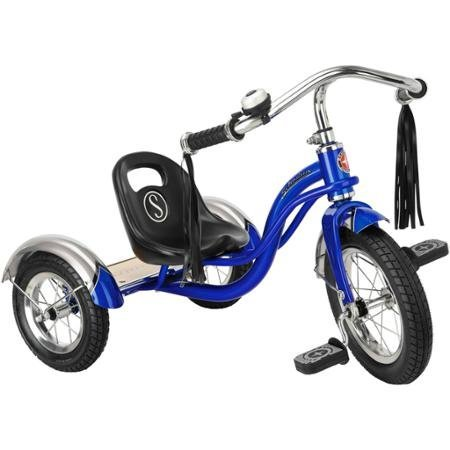12'' Schwinn Roadster Trike, Retro-Styled Classic Tricycle Frame with Low Center of Gravity, Color Blue