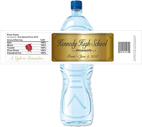 High School Prom Water Bottle Labels, Personalized, Waterproof (set of -
