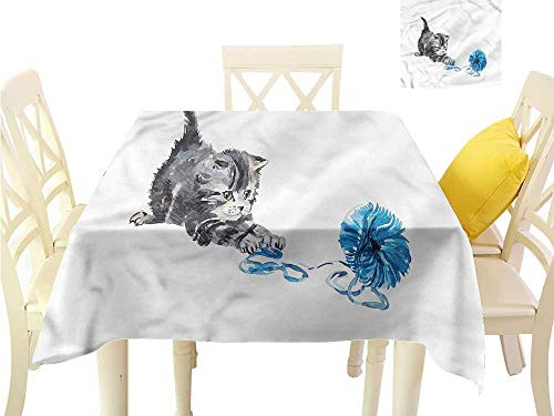 WilliamsDecor Picnic Cloth Cat,Playful Baby Kitten Furry Table Cloth Cover W 54