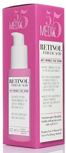 41DW o7TloL - Medix 5.5 Retinol Cream & Retinol Serum two-piece set. Anti-aging retinol set w/ferulic acid for wrinkles, fine lines, expression lines, dark spots. Contains 2oz serum & 15oz cream for face & body