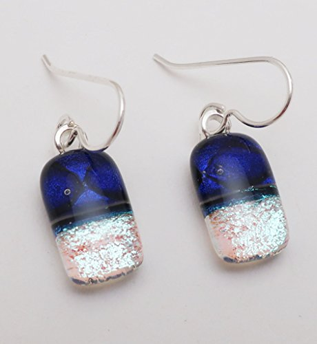 Petite Cobalt blue silver Fused Dichroic Glass dangle Earrings 925 Sterling silver ear wires (Glass Fused Jewelry Dichroic)