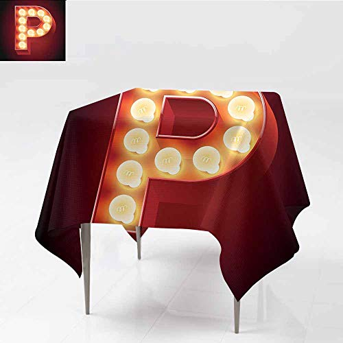 Polyester Tablecloth Letter P Vibrant P Letter Party Theater Name Initials Club Show Business Theme Vermilion Yellow Black for Kitchen Dinning Tabletop Decoration W63 xL65