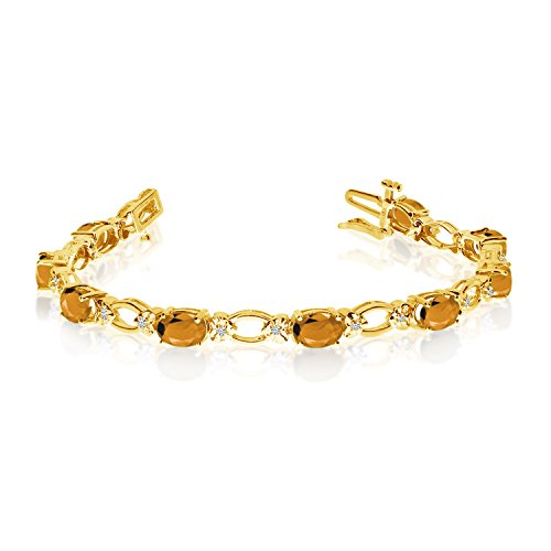 (3.72 Carat (ctw) 14k Yellow Gold Oval Citrine and Diamond Open Link Tennis Bracelet - 7