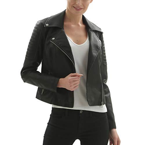 Fahsyee Women's Faux Leather Jackets, Zip Up Motorcycle Short PU Moto Biker Outwear Fitted Slim Coat Black