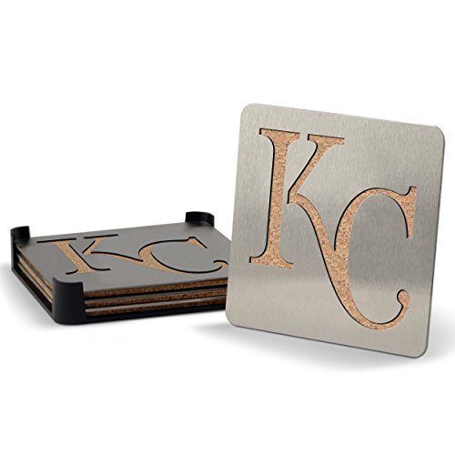 Royals Coaster Set (MLB Kansas City Royals Boasters, Heavy Duty Stainless Steel Coasters, Set of 4)