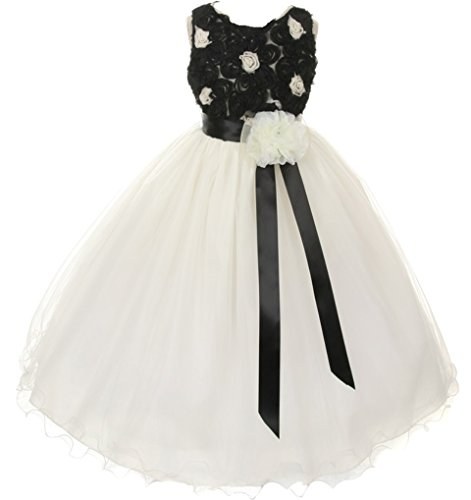 Amazon.com: AkiDress Floral Lace Top &amp- Tulle Skirt Flower Girl ...