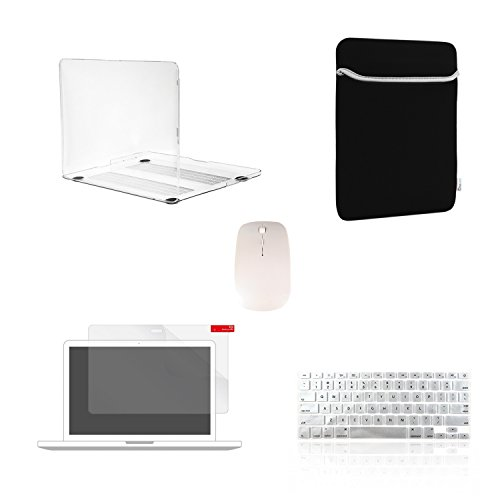 TOP CASE 5 in 1 - Crystal Hard Case + Sleeve Bag + Wireless Mouse + Keyboard Cover + Screen Protector Compatible with Old Generation MacBook Pro 15