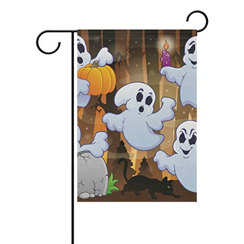 (Ghost Halloweem Garden Flag Banner Decoration for Home Courtyard Yard Outdoor)
