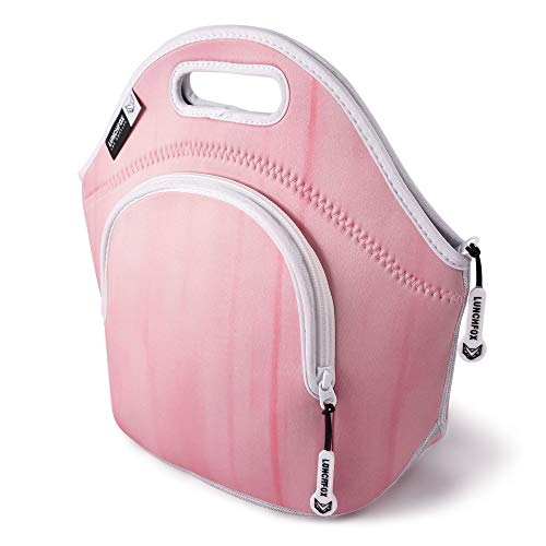 Neoprene Lunch Bag for Women - The Norma Jean by LunchFox - Blush Pink Insulated Lunch Bags/Totes - (The Original) Ultra Thick Neoprene Lunch Tote - The Eco Friendly Adult Lunch Box for Work/Play