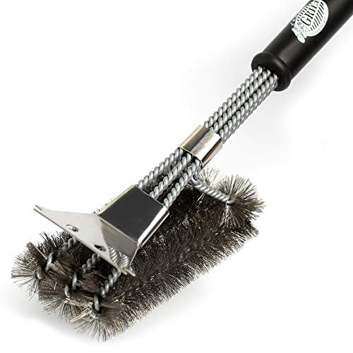 Grills Brush - BBQ Brush - BBQ Cleaning Brush - Barbecue Cleaner Grate - Cleaner Brush - Charcoal Porcelain Electric Infrared Stainless Steel Gas Iron Weber with Scraper and Gift Bag (SS- black)