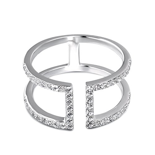 Fonsalette Open Bar Ring Sterling Silver Double Line Bar Ring Parallel Bar Ring (cz Silver, 6)