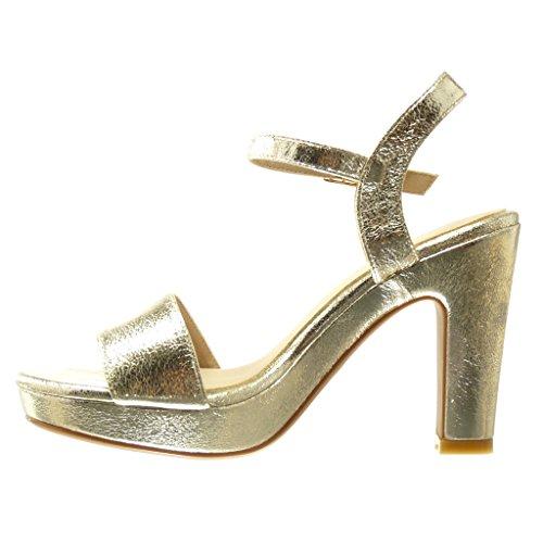 Angkorly - Chaussure Mode Sandale Escarpin plateforme sexy femme lanière boucle Talon haut bloc 11 CM - Or