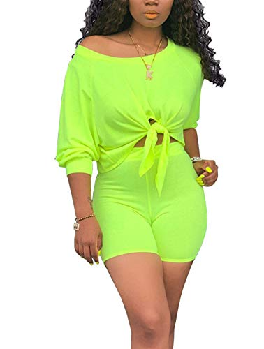 Two Piece Short Set for Women - Sexy Long Sleeve Crop Tops + Skinny Shorts Tracksuit XX-Large Green