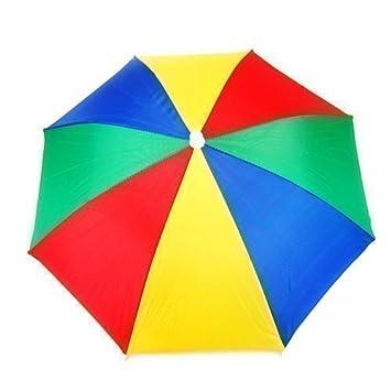 Accessotech-Multi Color diseño paraguas sombrero-Refugio para Golf Pesca Caza Cabeza De Vacaciones
