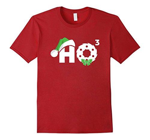 Mens Santa HO HO3 Cubed Funny Christmas T-Shirt Xmas Gift 3XL Cranberry