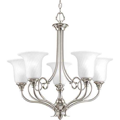 Progress Lighting P4238-09 Traditional Five Light Chandelier from Kensington Collection in Pwt, Nckl, B/S, Slvr. Finish, Brushed Nickel