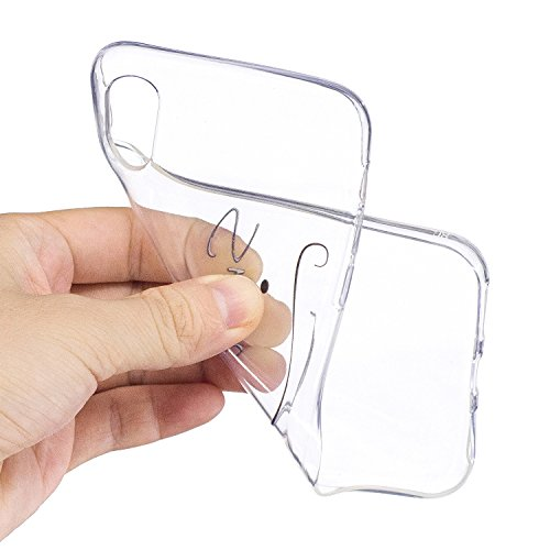 iPhone X Hülle , Leiai Modisch Smile TPU Transparent Weich Tasche Schutzhülle Silikon Handyhülle Stoßdämpfende Schale Fall Case Shell für Apple iPhone X