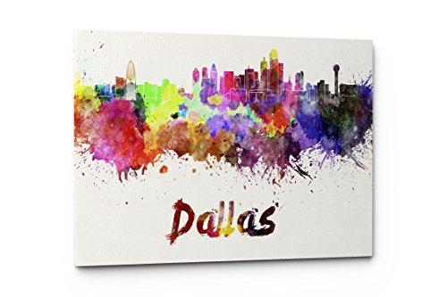 Watercolor City Splash Skyline Wall Art Canvas Print (Dallas)