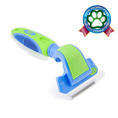 2PET FWIPER– Deshedding Dog Brush for Small, Medium & Large Sized Dogs, Cats & Other Pets – Reduces Undercoat Shedding by 95% - Designed to Groom Medium to Short Hair. Small 2 inches Happy Blue