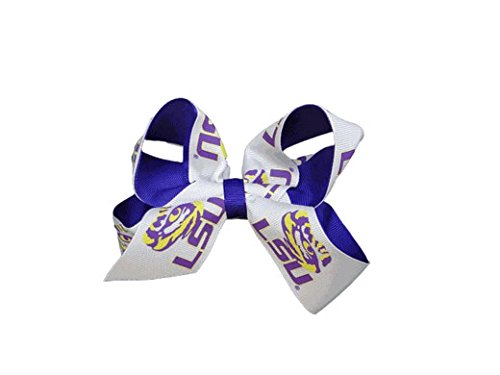 LSU Tigers NCAA Two Tone Hair Bow with Barrette ()