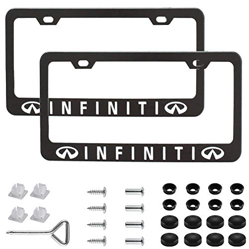 Sparkle-um 2Pcs Newest Matte Aluminum Alloy Logo License Plate Frame,with Screw Caps Cover Set,Applicable to US Standard car License Frame,for Infiniti(Matte Black)