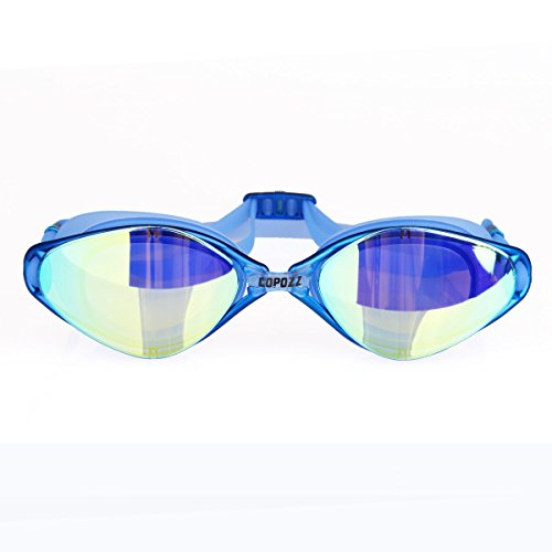 Swim Goggles, COPOZZ 3550 Swimming Goggles For Adult Youth Men Women Mirrored Coated / Clear Anti Fog UV Protection Lens 3 Nose Bridges For Competitive Indoor / Open Water