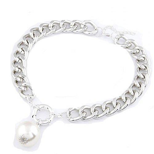 Luxury Tri-Color Chunky Chain Pearl Pendants Necklaces Unique Jewelry,101243 (A)