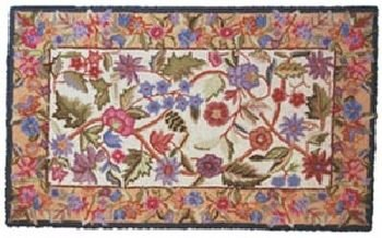 SANDHILL 30'' x 50'' Petit Point Wool Hearth Rug Ivory Gold Tapestry ()