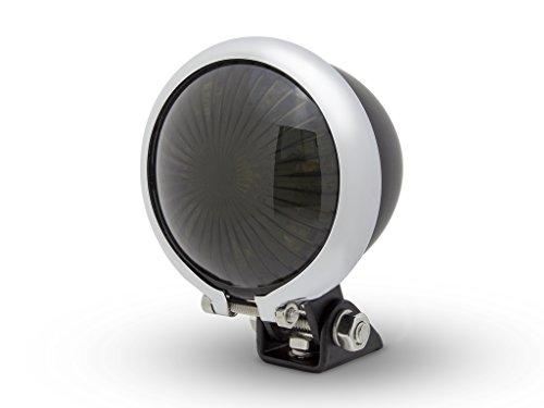 Matte Chrome Led - Matte Black + Chrome Mini Bates LED Stop/Tail Light - Smoked Lens