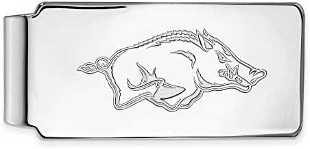 14k White Gold LogoArt Official Licensed Collegiate University of Arkansas (UA) Money Clip