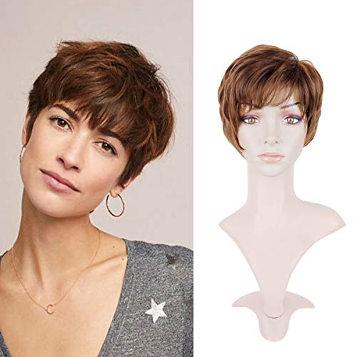 Creamily Women Auburn Brown Short Layered Wig