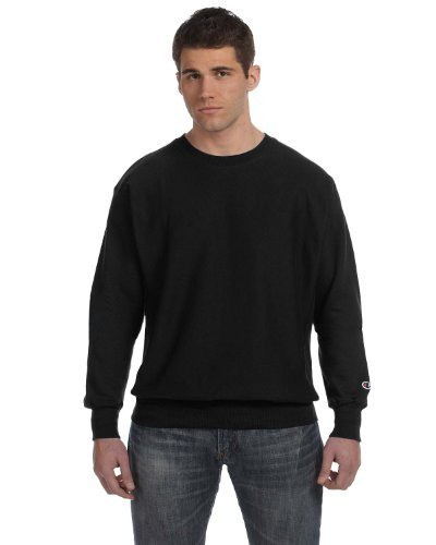 Champion Adult Comfort Rib Knit Crewneck Sweatshirt, Blk, X-Large (Band Crewneck Sweatshirt)