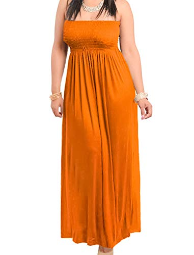 811 - Smocked Chest Strapless Tube Long Maxi Beach Cover-up Dress (3X, Orange) 3 Plus 2 Chest