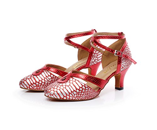 Toe Samba Moderne Our40 JSHOE Red Jazz Chaussures Salsa Chaton Ballroom Tango Chaussures heeled6cm Heel Chacha EU39 Danse Pointu UK6 Latine Cuir ROw1nOS7qE