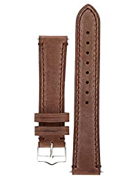 Signature Father watch band. Replacement watch strap. Genuine Leather. Silver buckle (20 mm, Coffee)