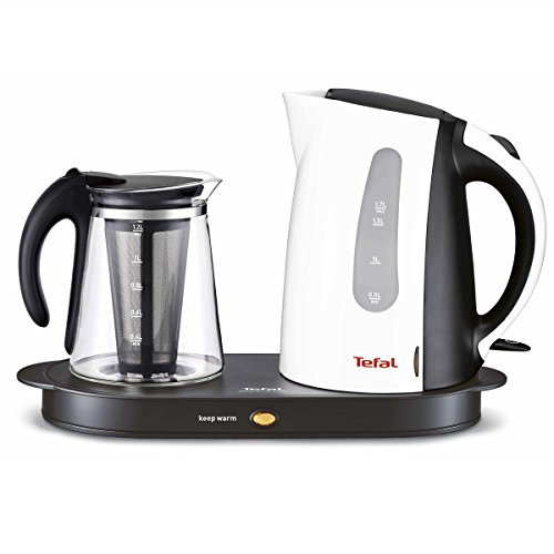 TEFAL Keyif Tea Set Electric Machine Tea Maker , White Color, Tefal Machine Tray Electric, 1.2Lt Glass Teapot Kettle, 1.7 L Stainless steel water heater, With tea Filter Material Stainless Steel (Electric Tea Kettle With Tray)